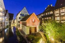 Historical houses at River Blau at night — Stock Photo