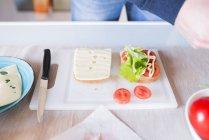 Mann Vorbereitung sandwich — Stockfoto