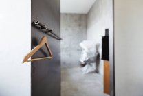 Hanger at coat rack — Stock Photo