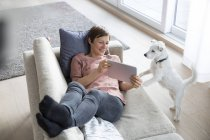 Woman showing tablet to dog on couch — Stock Photo
