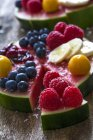 Fruitcake made of watermelon with various fruits — Stock Photo