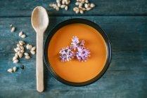 Bol de soupe de citrouille crème — Photo de stock