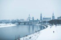 Dresde Frauenkirche y el río Elba - foto de stock