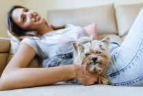 Yorkshire Terrier lying on couch with owner — Stock Photo