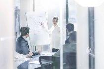 Geschäftsfrau an der Spitze einer Präsentation — Stockfoto