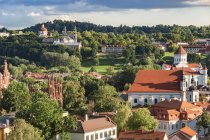 Lithuania, Riga cityscape with green trees view from above — Stock Photo