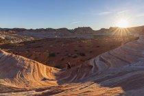 USA, Nevada, Valley of Fire State Park, donna che fotografa arenaria colorata e rocce calcaree dell'Onda di Fuoco — Foto stock