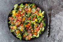 Пластина салат з помідорів — стокове фото