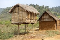 Madagaskar, Ambatomainty, granary on stilts for animal protection — Stock Photo