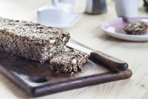 Fresh made vegan nut and seed bread — Stock Photo