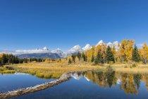 США-Соединенные Штаты Америки, Вайоминг, скалистые горы, тетон диапазон, Гранд тетон Национальный парк, Река Снейк, Nez Perce пик, Ближний тетон, Гранд-Титон, Оуэн горе и Teewinot горы — стоковое фото