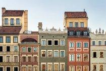 Польща, Мазовії, Варшава, місто будинків на Палацової площі у Варшаві, Старе місто, історичний, Всесвітньої спадщини ЮНЕСКО — стокове фото