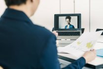 Cropped portrait of businesswomen on video conference — Stock Photo