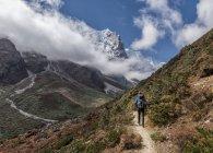 Hiker walking on mountainn trail during daytime — Stock Photo
