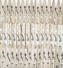 Wooden Clothes pegs in rows on white background — Stock Photo