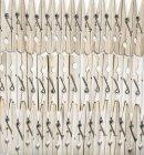 Roupas de madeira estacas em fileiras no fundo branco — Fotografia de Stock