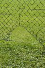 Recinzione in rete metallica con un foro in un campo di calcio — Foto stock
