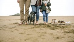 Spain, Asturias, Low section of unrecoginzable family barefoot standing over the beach sand next to their footwear — Stock Photo