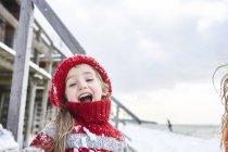 Little girl having fun in winter, portrait — Stock Photo