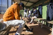 Baseball players getting ready before the game — Stock Photo