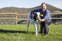 Portrait of smiling farmer with calf on pasture — Stock Photo