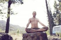 Hombre sin camisa practicando yoga sobre roca en el campo - foto de stock