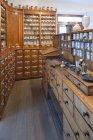 Germany, Radolfzell, salesroom of historical pharmacy at municipal museum — Stock Photo