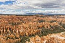 Estados Unidos, Estados Unidos de América, Utah, meseta del Parque Nacional Bryce Canyon, Colorado, meseta de Paunsaugunt, vista desde el camino del borde a la Fel pirámides o Hoodoos en el anfiteatro - foto de stock
