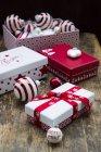 Christmas decorative boxes — Stock Photo
