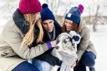 Астурія, Іспанія, трьох друзів, що весело з їх Бордер Коллі на снігу — стокове фото