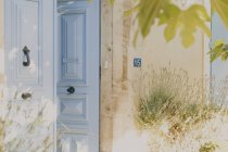 Close-up of blue old French door — Stock Photo