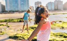 Portrait of little girl on the beach, Gijn, Asturias, Spain — Stock Photo