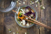 Asian rice noodle soup with vegetables — Stock Photo