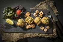Puff pastry filled with salmon — Stock Photo