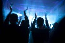 Crowd having fun at concert at dark — Stock Photo