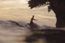 Індонезія, Java, людина серфінгу на заході сонця — стокове фото