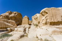 Blockgrubber, Djinn Blocks, Petra Rock City, Nabataean Capital, Patrimonio de la Humanidad por la UNESCO, Jordania, Asia - foto de stock