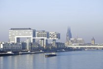 Cityscape of Rhine with modern and historical architectural buildings by the river — Stock Photo