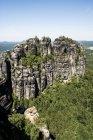 Daytime view of rocky mountain in Saxon Switzerland national park — Stock Photo
