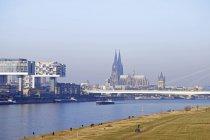 Alemania, Colonia, casas de la grúa en el río Rin y Catedral de Colonia en fondo - foto de stock