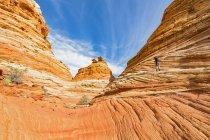 США, Соединенные Штаты Америки, Аризона, Пейдж, Каньон Пария, Vermillion Cliffs Wilderness, Coyote Buttes, Walk to the North Teepees, Red Rock Pyramids and Buttes — стоковое фото