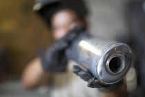 Крупным планом выхлопных газов мотоциклов — стоковое фото