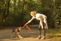 Young woman playing with her dog on a forest track — Stock Photo