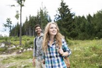 Young couple on a hiking tour — Stock Photo