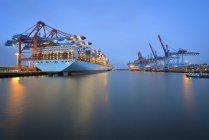 Deutschland,Hamburg,Hafen,Containerterminal und Containerschiff am Morgen — Stock Photo