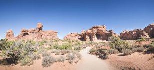 США, штат Юта, Національний парк арки, подвійний Arch туристичний шлях — стокове фото
