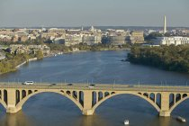 USA, Washington, aerial view of Potomac River and Key Bridge — Stock Photo