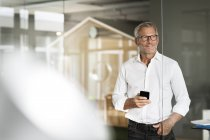 Homme d'affaires permanent avec téléphone portable — Photo de stock