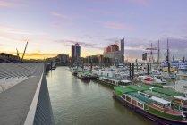 Alemanha, Hamburgo, vista para centro de comércio de Hanseatic e Elbphilharmonie visto de Niederhafen da manhã — Fotografia de Stock