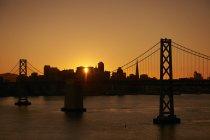San Francisco-Oakland Bay Bridge, crossing between Yerba Buena Island and the city of San Francisco ,California, USA — Stock Photo